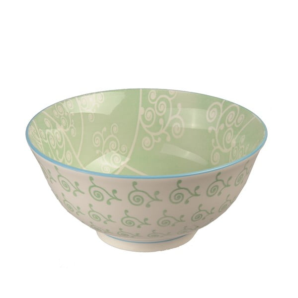 Porcelanowa miska Animal Colored Green Flowers, 15.5 cm