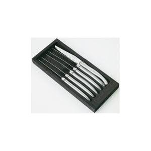 Komplet 6 noży do steków z polerowanej stali w drewnianym opakowaniu Jean Dubost