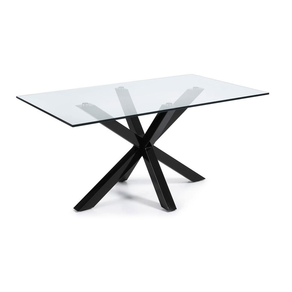 Stół do jadalni ze szklanym blatem i czarną konstrukcją La Forma, 160 x 90 cm