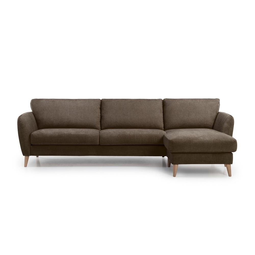 Brązowa sofa Softnord Vesta, prawy róg