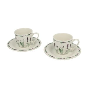 Zestaw 2 porcelanowych filiżanek ze spodkami Duo Gift Lavender