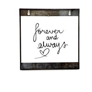 Szklana tabliczka z napisem Live Forever, 20x20 cm