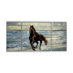 Trzyczęściowy obraz Asymetric Horse, 80x40 cm