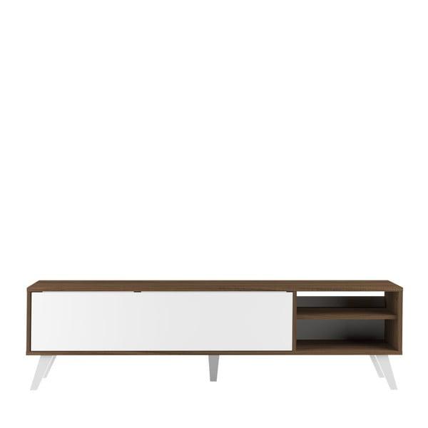Biała szafka pod TV z ciemnobrązowym korpusem TemaHome Prism