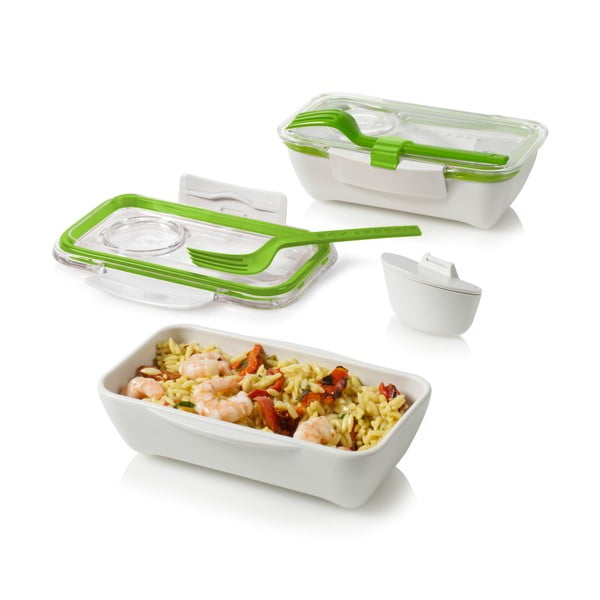 Biało-zielony pojemnik na lunch Black + Blum Bento