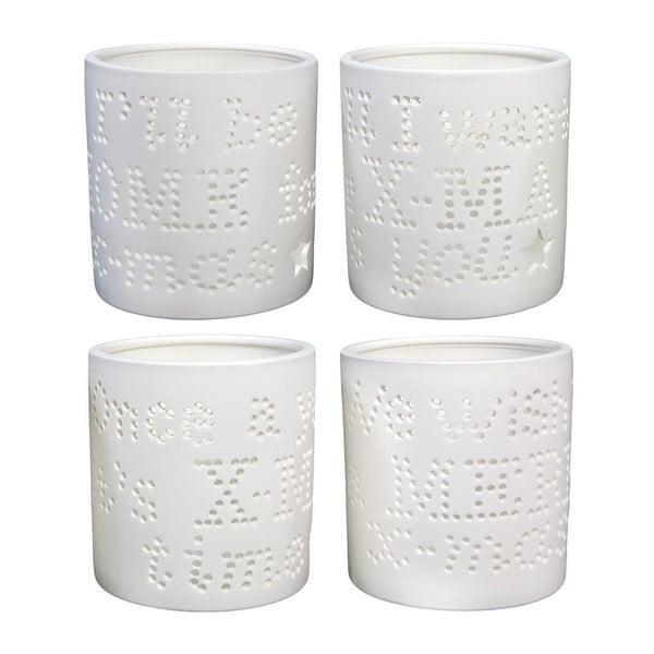Zestaw 4 porcelanowych świeczników z wygrawerowanymi literkami