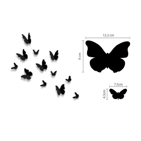 Naklejka Motyle 3D, jednokolorowe czarne