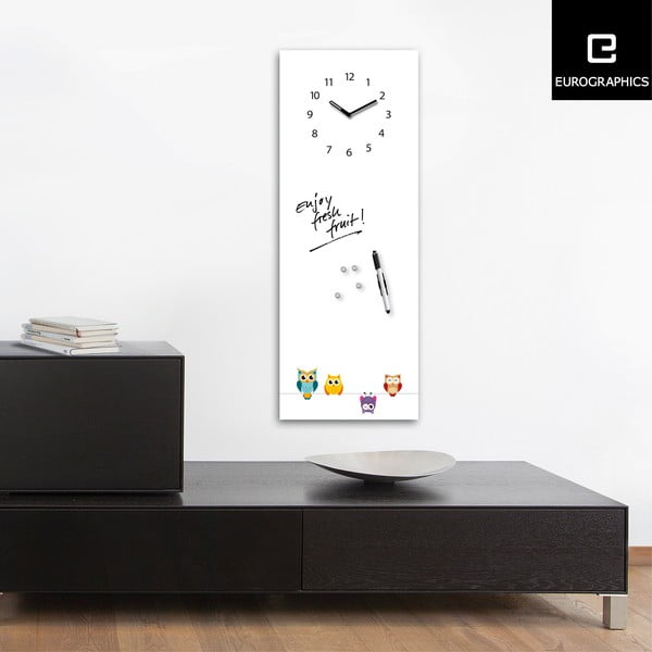 Tablica magnetyczna z zegarem Eurographic Funny Owls, 30x80 cm