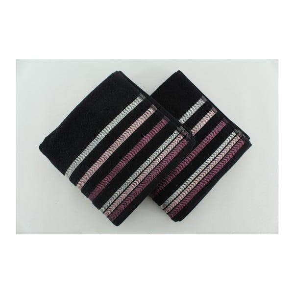 Zestaw 2 ręczników Bianna Black, 50x90 cm