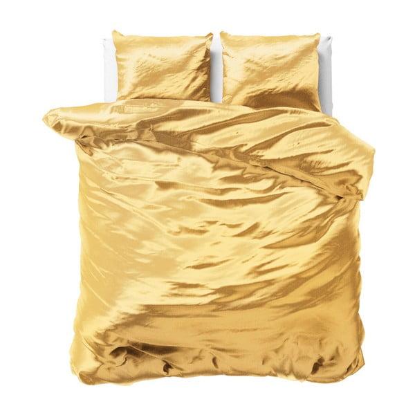Żółta dwuosobowa pościel z satynowego mikroperkalu Sleeptime, 240x220 cm