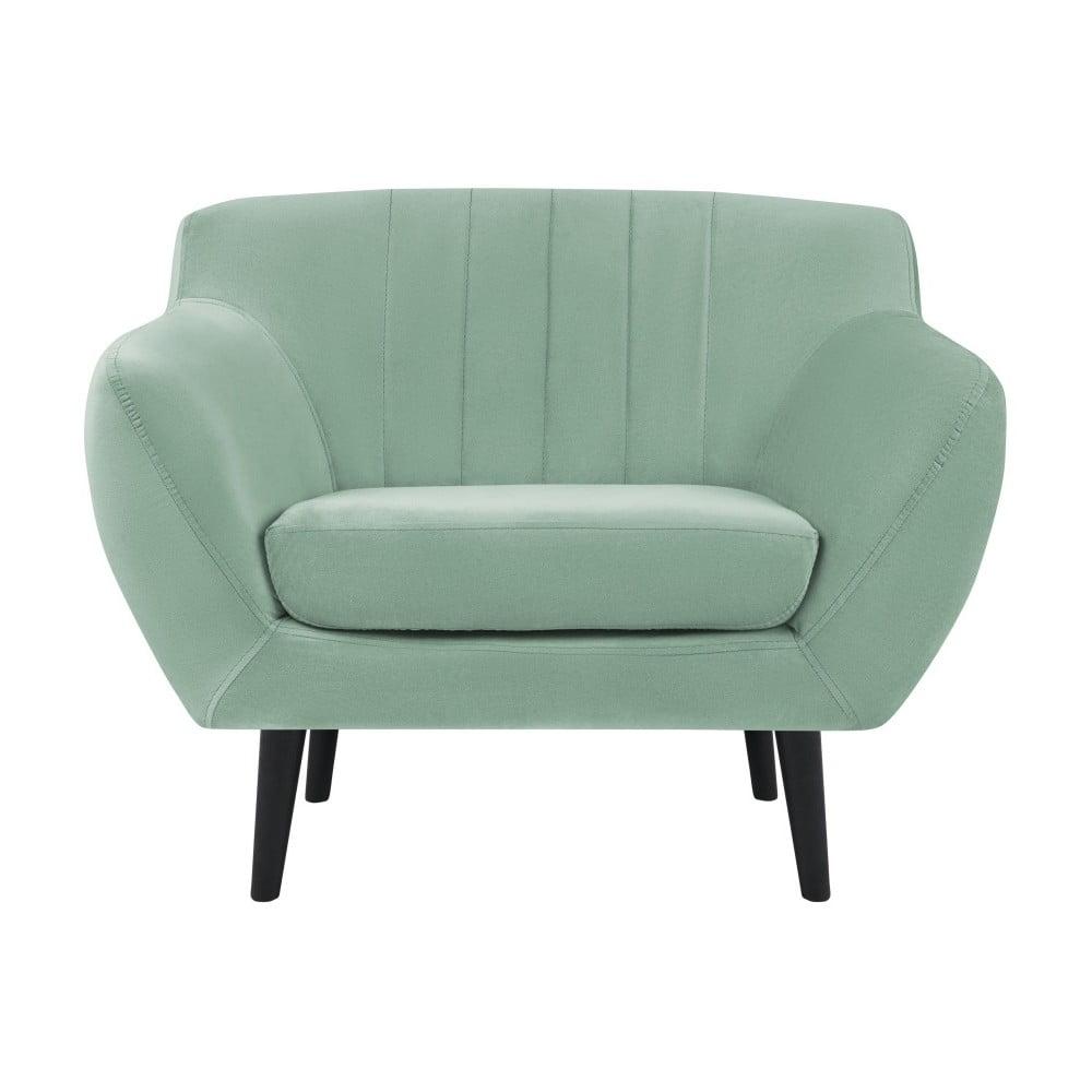 Miętowy fotel z czarnymi nogami Mazzini Sofas Toscane