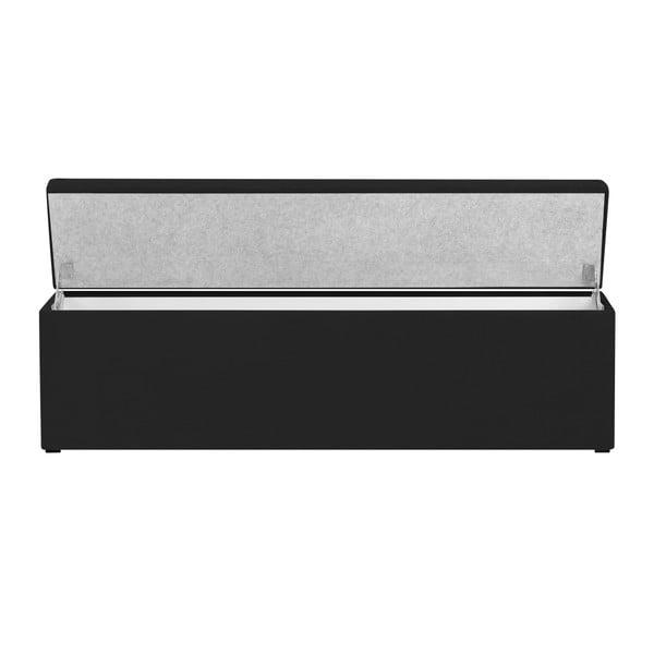 Czarna ławka tapicerowana ze schowkiem Windsor & Co Sofas Nova, 180x47 cm