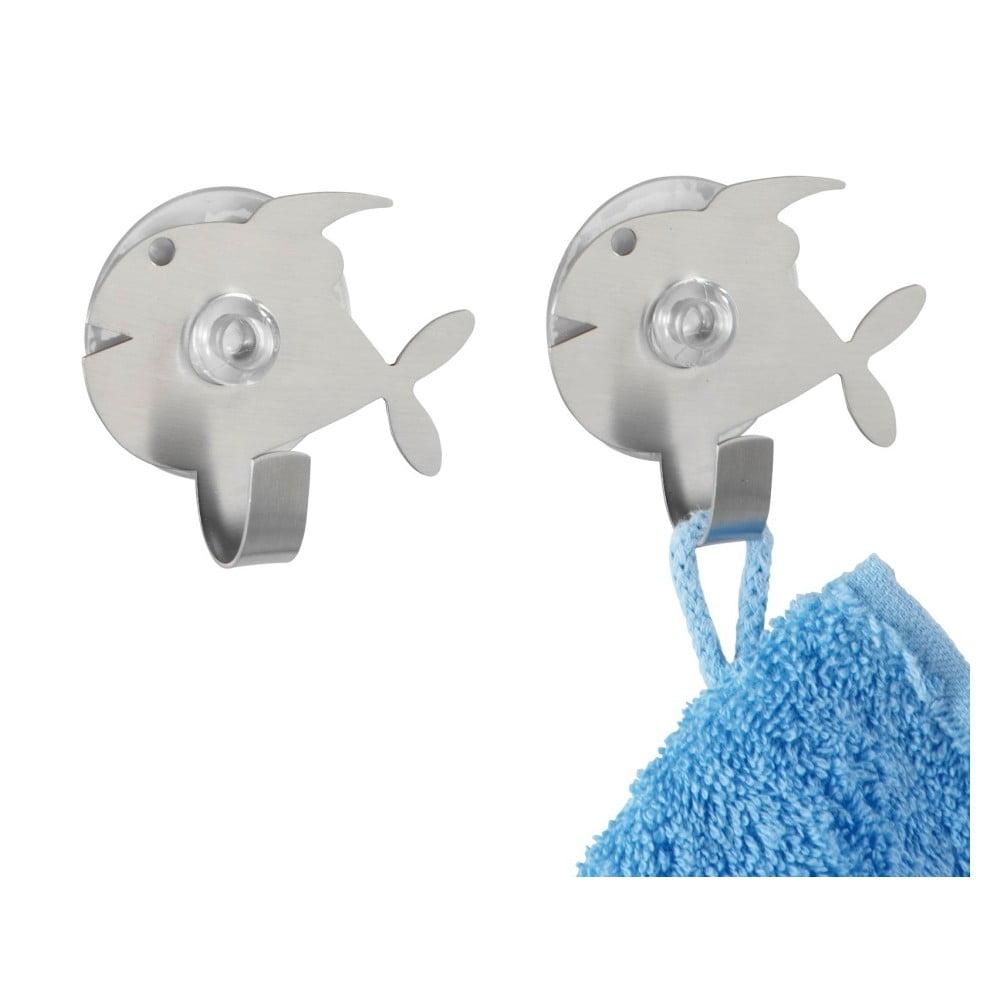 Zestaw 2 haczyków ściennych w srebrnej barwie Wenko Fish