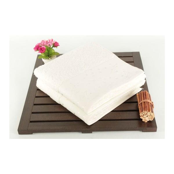Zestaw 2 białych ręczników Tomur Ecru, 50x90cm