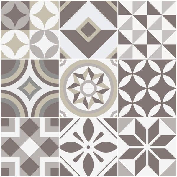 Zestaw 9 samoprzylepnych naklejek Ambiance Tiles Azulejos Geometric, 10x10 cm