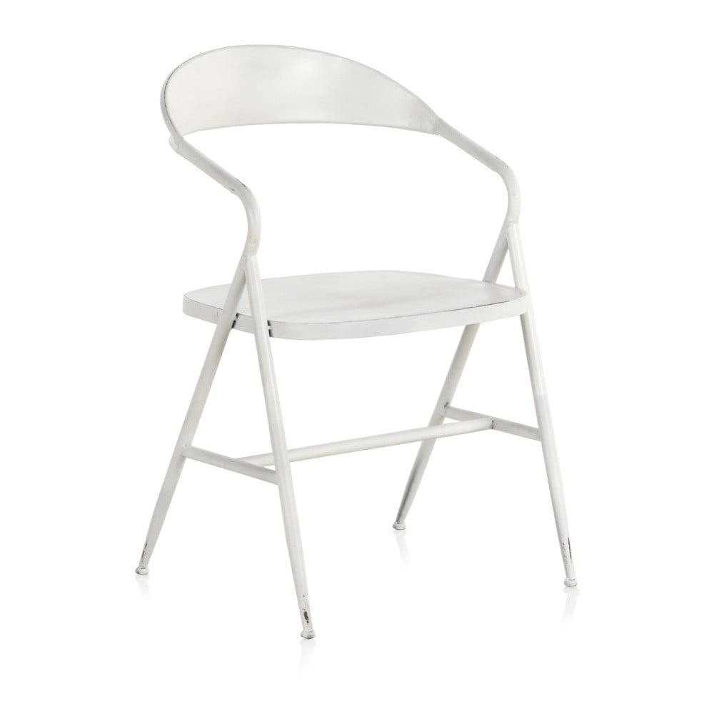 Biały metalowy fotel Geese Industrial Style Puro