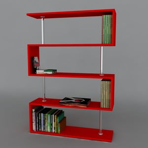 Biblioteczka Sunrise Book Red, 22x90x129 cm