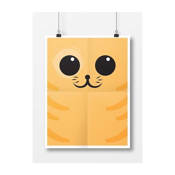 Plakat Kotek, A3, pomarańczowy