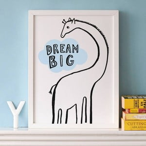 Plakat Dream Big Giraffe, 30x40 cm