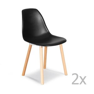 Zestaw 2   czarnych krzeseł Garageeight Sierra