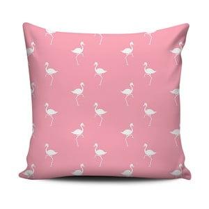 Różowo-biała poduszka Home de Bleu White Flamingos, 43x43cm