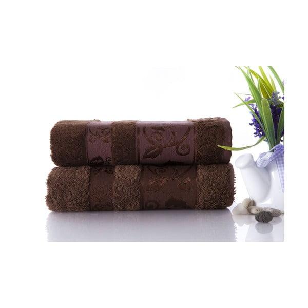 Zestaw 2 ręczników Bamboo Brown, 50x90 cm