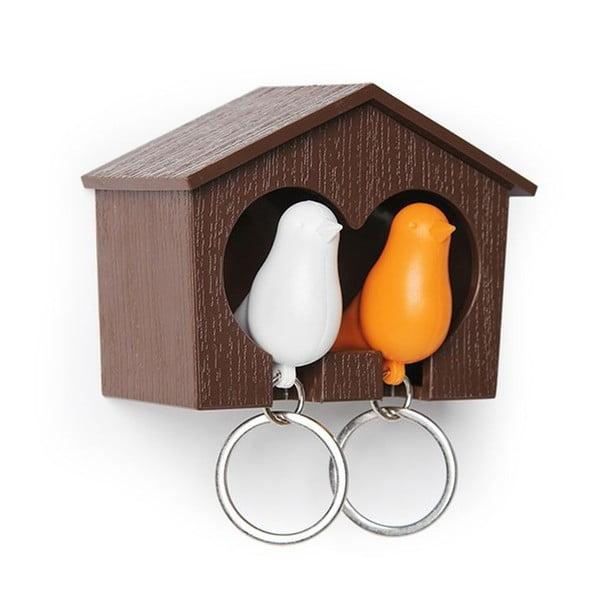 Budka z zawieszkami na klucze QUALY Duo Sparrow, brązowa/pomarańczowa