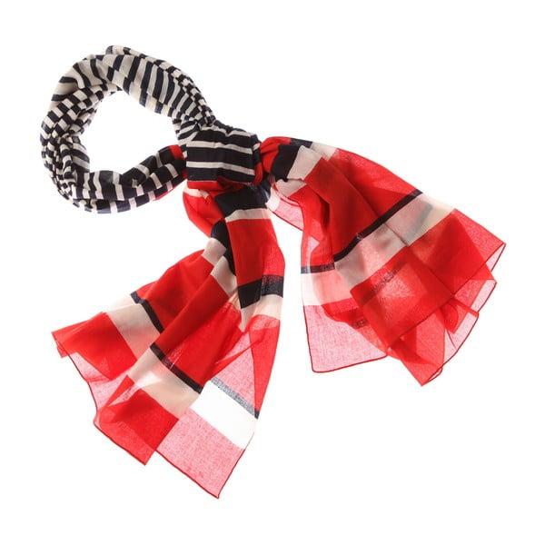 Szalik Nautical Stripe Red, 180x50 cm