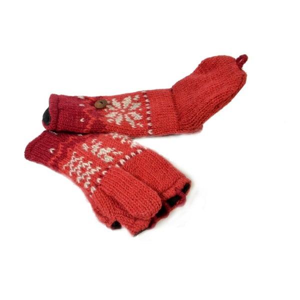Rękawiczki z klapką Red Snowflake