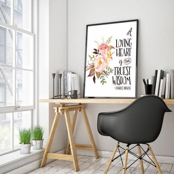 Plakat w drewnianej ramie Loving heart, 38x28 cm