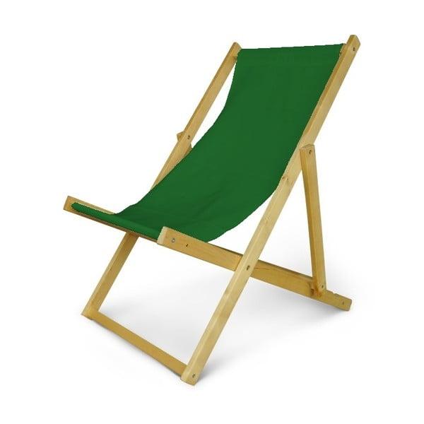 Regulowany leżak drewniany JustRest, butelkowo zielony