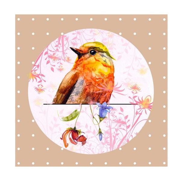 Obrazek Orange Bird, 28x28 cm
