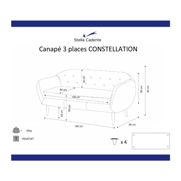 Fioletowa sofa 3-osobowa Scandi by Stella Cadente Maison Constellation