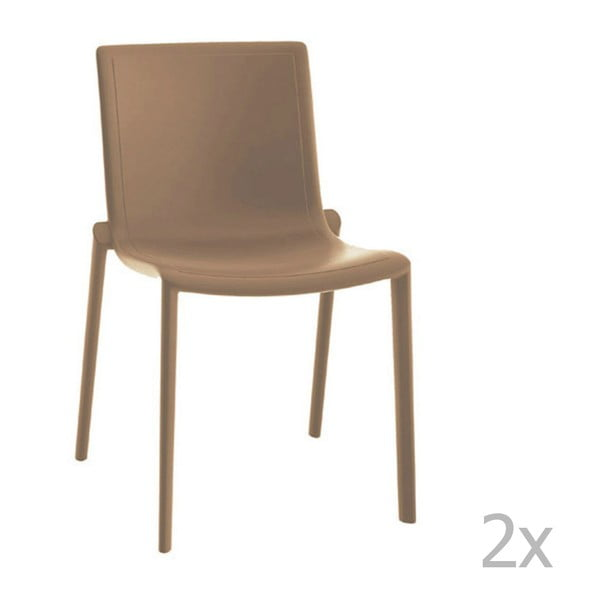Zestaw 2 beżowych krzeseł ogrodowych Resol Kat