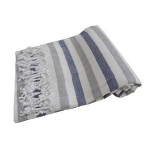 Niebiesko-szary ręcznik kąpielowy tkany ręcznie z wysokiej jakości bawełny Homemania Afrika Hammam,100x180 cm