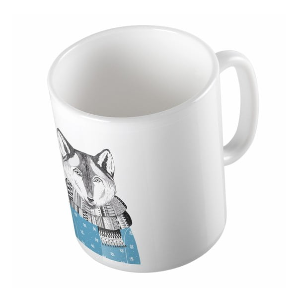 Ceramiczny kubek Wolf in Winter, 330 ml