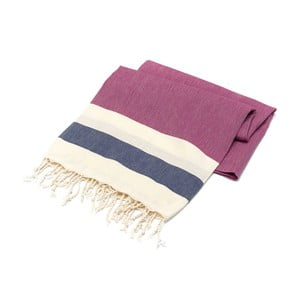 Ręcznik hammam American Stripes Cherry & Navy, 100x180 cm