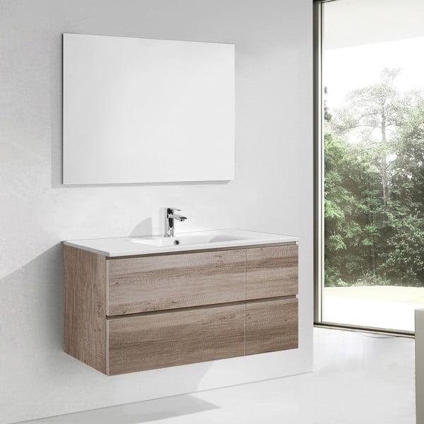 Szafka do łazienki z umywalką i lustrem Capri, motyw dębu, 120 cm