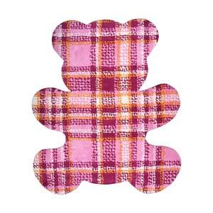 Różowy dywan dziecięcy Nattiot Teddy Tartan, 100x120 cm