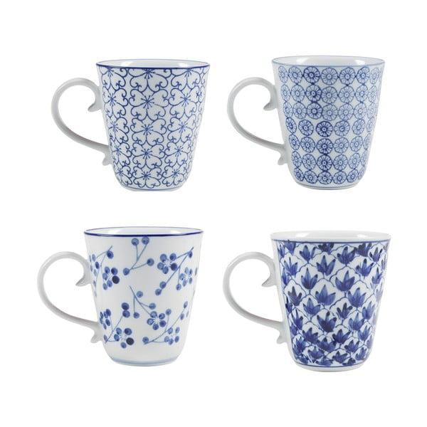 Zestaw 4 porcelanowych kubków Blue
