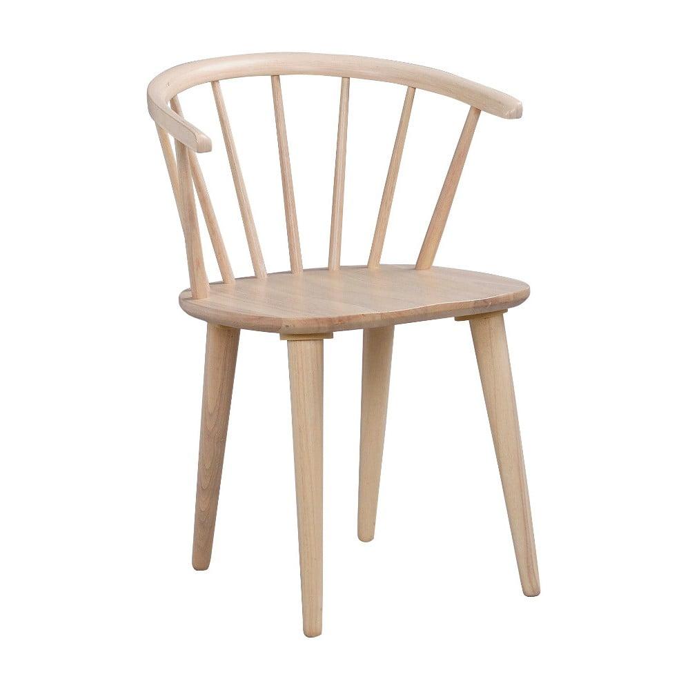 Jasnobrązowe krzesło do jadalni z drewna kauczukowca Rowico Carmen