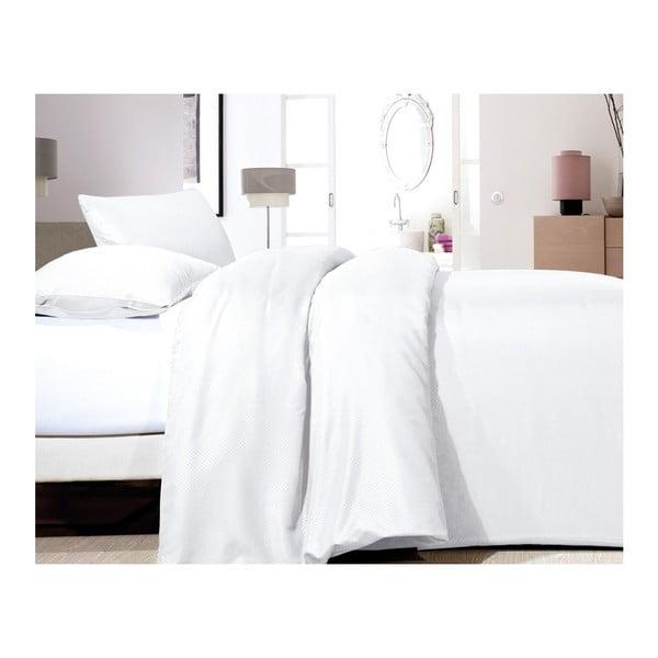 Biała jednoosobowa pościel z mikroperkalu Sleeptime Satin, 140x200 cm