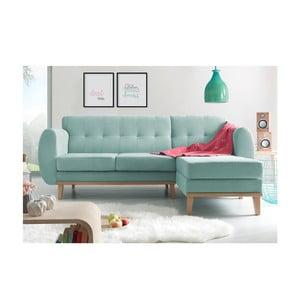 Jasnoniebieska sofa z szezlongiem po prawej stronie Bobochic Paris Viking