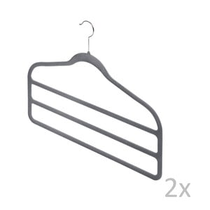 Zestaw 2 szarych wieszaków na spodnie Bonita Velvet Hangers