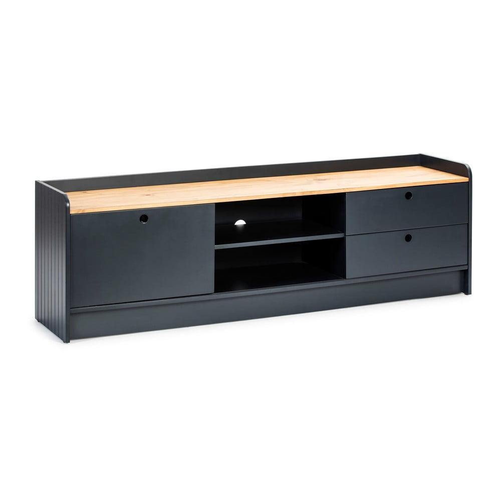 Szara szafka pod TV z blatem w dekorze drewna sosnowego Marckeric Monte