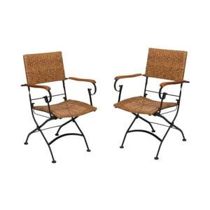Zestaw 2 ogrodowych krzeseł składanych z podłokietnikami z drewna akacjowego ADDU Graz