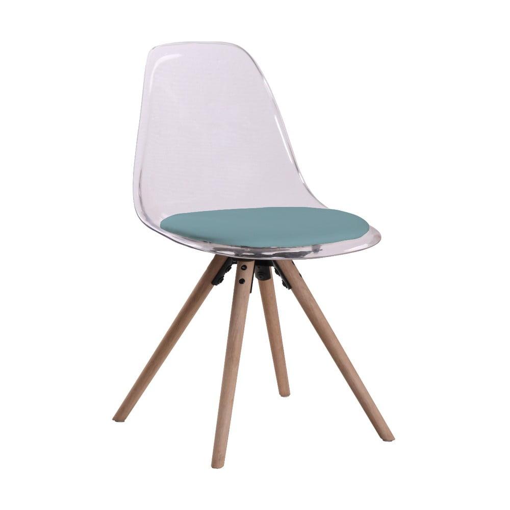 Przezroczyste krzesło z zielonym siedziskiem i konstrukcją z drewna dębowego Actona Henning