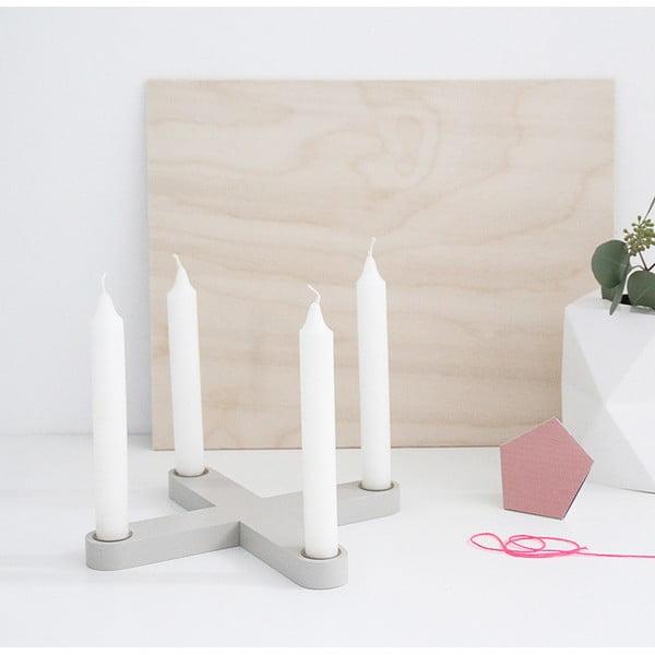 Świecznik drewniany SNUG.Cross, szary