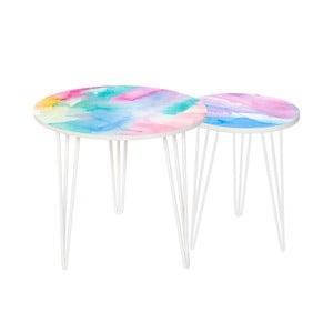 Zestaw 2 stolików Colour Splash, 35 cm + 49 cm