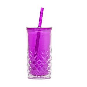 Kubek ze słomką Cup 470 ml, fioletowy